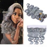 Moda color argento grigio onda del corpo onda vergine umano pizzo frontale con pacchi prolunga resistente al calore grigio con chiusura capelli grigi