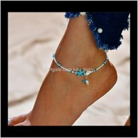 Jewelryboho Freshwater Pearl Charm Anklets Women Barefoot Sandals Beads Ankle Bracelet Summer Beach Starfish Foot Jewelry T259 Drop Delivery