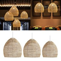 Pendant Lamps Hand-Woven Rattan Light Country Style Hanging Lamp Bamboo Lampshade Living Room Ceiling E27 Retro Chandelier