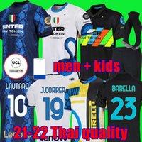 Inter Jerseys Barella Milan Lautaro Eriksen 21 22 كرة القدم قميص كرة القدم 2021 زي الرجال + الاطفال كيت بعيدا Dzeko الثالث الأسود skriniar dumfries joaquin كوريا الأعلى