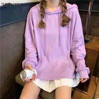Women's Hoodies & Sweatshirts Women Candy Color Hooded Kawaii Loose Simple All-match Student Korean Style Harajuku Casual Soft Sweet Outwear