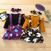 Clothing Sets Toddler Baby Girl Clothes Halloween Ruffle Tops+Pumpkin Ghost Suspender Skirt +Hairband Outfits Kids Casual