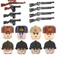 WW2 União Soviética Infantaria Soldados Figuras Building Blocos Armário Militar French Soldier Gun Capacete Peças Tijolos Brinquedo Para Crianças H0917