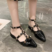 Sandals 2021 Summer Women Pointed Toe Flat Shoes T Strap Rivets Casual Low Heels Sandalias Mujer Black Blue White 9064L