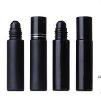 10ML Black Essential Oil Bottle Glass Roll On Perfume Crystal Roller Ball Bottles DHE8567