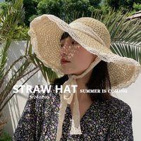 Fashion Lace Holiday Beach Hats Ins Wave-Brim Sun Hat Tide Fisherman Caps Womens Wide Brim Sun-hats Birthday Gift