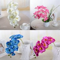10Pcs lot Lifelike Artificial Butterfly Orchid flower Silk Phalaenopsis Wedding Home DIY Decoration Fake Flowers 1464 V2