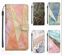 Capas de carteira de couro Geométrico de flor de mármore de revestimento para iPhone 12 mini 11 pro max xr xs x 8 7 6 mais rock pedra híbrida híbrido cor flip capa titular titular alça