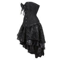 مثير خمر الأسود مشد اللباس الفيكتوري هزلي الكورسيهات تنورة هالوين حزب الرقص تأثيري حلي زائد الحجم S-6XL