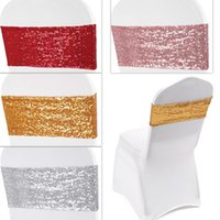 Sashes 10pcs Lot Luxury Sequin Chair Elastic Tie Bow Sash Band Wedding Decoration Home El Banquet Table Decor 35*15cm