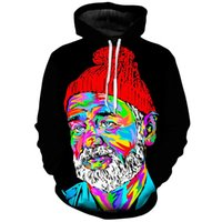 Hooded old man pattern Fierce 3D printing hoodie visual impact party top punk goth round neck high quality American sweater hoodie