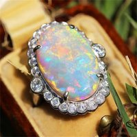 Cluster Rings Bamos Cute Male Female Big Stone Ring Boho White Fire Opal Engagement For Men And Women Wedding Bands Fashion Jewelry