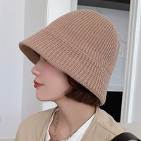 Wide Brim Hats YQYXCY Bucket For Women Autumn Winter Solid Striped Fisherman Caps Knitted Hat Female Simple Warm Korean Fashion