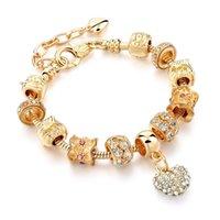 Link, Chain European Heart-shaped Pendant Charm Bracelet Fit Women's Jewellery Snake KC Gold Metal Fashion Fine Bracelets
