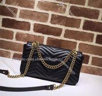 브랜드 패션 Marmont Luxurys 디자이너 가방 뜨거운 여성 어깨 사랑 물결 모양 체인 클래식 크로스 바디 가방 일반 정품 진짜 가죽 마카롱 핸드백 색상