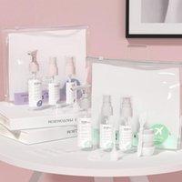 Lagerflaschen Gläser Reisekit, Leckdicht Tragbare Toilettencontainer Set, Klare Haustier Fluggröße Kosmetik für Lotion, Set von 9