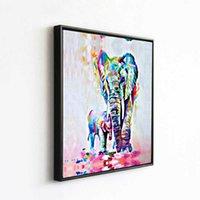 Peintures éléphant père et fils couleur dessin huile animal décoration carécagente autocollant peinture murale VDTR