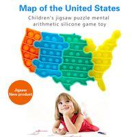 Tiktok USA Map Puzzle Fidget Toys Push Bubble Pop Sensory Silicone United States Maps Splicing Puzzles Decompression Toy For Kids Desktop Game Enhance Feelings
