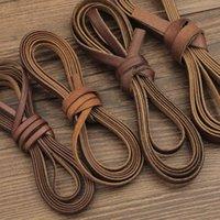 2M vintage 100% véritable cuir de cordon en cuir bande ronde / plate corde corder bricolage bracelet collier tressé artisanat bijoux