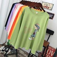 Донамол плюс размер женщин одежда весна и осень мода повседневная футболка с длинным рукавом свободные 100% хлопчатобумажные узоры печати Tops Tees