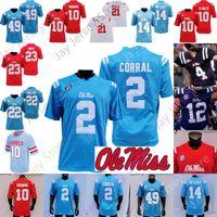 맞춤형 Ole Miss Rebels Football Jersey NCAA College Matt Corral Snoop Conner Drummond Eli Manning A.J. 갈색 Jerrion EARY D.K. MetCalf Henry Parrish Jr.