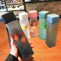투명 사각형 플라스틱 무광택 물 병 야외 차가운 주스 바닷물 휴대용 로프와 스포츠 컵 우유 컵