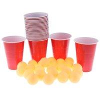미친 재미있는 게임 Pong 맥주 공 세트 24 컵 + 24 개의 공, 컴팩트 플라스틱 소재 탁구