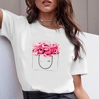 fasion woman T Shirt with vogue letters tee bottle flower print women's T-shirt tops XS-4XL Extra large