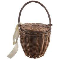Shoulder Bags Fashion Summer Women Beach Basket Straw Hand Bag Cover Handbag Wicker Handmade Small Bohemia Tote Travel Clutch(Brown)