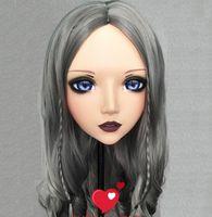 Máscaras de festa (Xiaoer4) Feminino menina doce resina meia cabeça kigurumi bjd olhos crossdress cosplay japonês anime papel lolita máscara com orelha fada