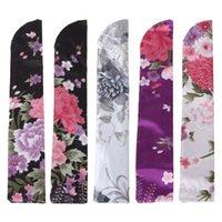 Outras decoração home Elegant Silk Hand Fan Saco Titular Bolsa Dobrável Casamento De Casamento F19B