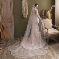 V831 Elegant One-Layer Chapel Bridal Veil Tulle Leaf-Pearl Edge White Wedding Headdress with Comb for Bride 300x250cm
