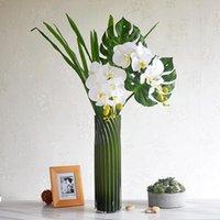 Flores decorativas guirnaldas 3D 8 cabezas / rama látex revestimiento mariposa orquídea flor real toque orquídea phalaenopsis polilla