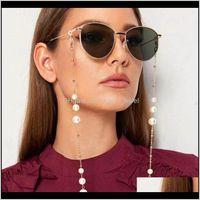 Llegada Cadenas de anteojos para todo uso con cierre de langosta Metal y perlas artificiales Hermosas máscaras de la cara Mascarilla Cadena H7VJJ I9SPV