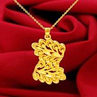 Vietnam Placer Gold Imitation Gold Fashion Croissant Double Feuille Pendentif Femme Collier Gold Bijoux en or Collier Accessoires Vente en gros