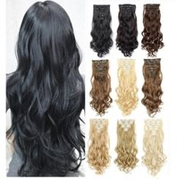Synthetic Wigs Clip In Hair On Extentions Long Wavy Ombre Black Brown Blond Fake Hairpiece For Women 16 Clips
