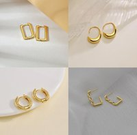 Trendy Geometric Charm Earings Rectangular Gold Hoop Earrings for Women Vintage C Shape Metal Copper Ear Studs