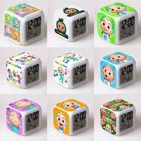 7 LED-Farben wechselnd digitale Wecker Kokomelon JJ Cartoon Kinderuhren Thermometer Nacht Glow Cube LCD Uhr Schreibtisch Tisch Bett Licht G55WS1L