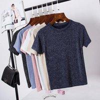 Women's T-Shirt 2021 Summer T Shirt Women Knitted Casual Short Sleeves Top O-Neck Tshirt Slim Kintwear Female