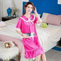 Women's Sleepwear Cute Ladies Nightdress Ice Silk Satin Nightgown Slip Nighties Summer Princess Night Gown Lingerie For Women