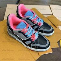 SS21 Trainer Sneaker Erkekler Tasarımcı Deri Ayakkabı Trail Dalfskin Lüks Vintage Beyaz Siyah Pembe Yeşil Mavi Traniers Sneakers
