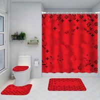Gedruckt Klassik Design Duschvorhänge Wasserdichte Badezimmer Liefert Multifunktionale Partition Luxus Vorhang Bad Türmatte