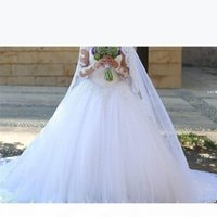 Long Sleeve Beaded Lace Ball Gown Plus Size Wedding Dress 2019 Robe de Mariage Romantic Chapel Train Bridal Gowns