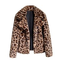 Women's Fur & Faux Autumn Winter Coat Women Fashion Leopard Print Loose Short Windbreaker Lamb Elegant Jackets Female Overcoat