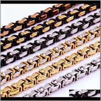 Chains Necklaces & Pendants Jewelry4Mm 5Mm 8Mm Wide Sier Gold Black Color Stainless Steel Byzantine Box Chain Necklace Or Bracelet Mens 7-40