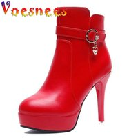 Voesnees Women's Martin Boots Autumn Winter Patent Leather Platform High-Heels Female Stiletto Short Boot Wedding Shoes 210516