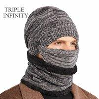 Triple Infinity Hiver Bonnet Heanie Chapeaux Foulard Set Skulli Beani Casquette Col chauffe avec un chapeau d'hommes tricotés coupe-vent doublé FF épais