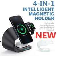4 in 1 Magnetic Wireless Charger Stand For iPhone 13 12 Pro Max 15W Qi Fast Charging Induction Chargers Fit Apple Watch AirPods Samsung S20 Xiaomi Huawei Smartphone