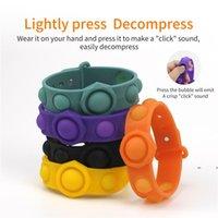 Bubble Fidget Toys Sensory Ring Bracelets Party Favor Puzzle Press Finger Bubbles Stress Bracelet Wristband Decompression Keychain EWF7737