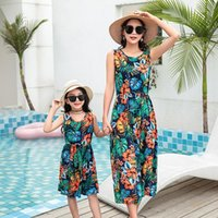 Family Matching Outfits 2021 Summer Kids Girl Dresses Amily Set Flower Mom And Daughter Bohemia Dress Mommy Me Clothes Fashion Women